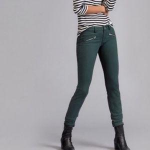cabi Green Zip Skinny Moto Jeans 3388 Size 10